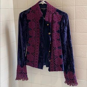 Betsy Johnson New York crushes velvet blazer Sz 4